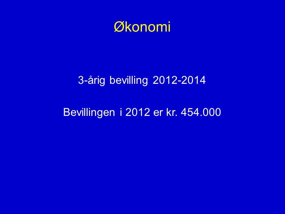 Økonomi 3-årig bevilling 2012-2014 Bevillingen i 2012 er kr. 454.000