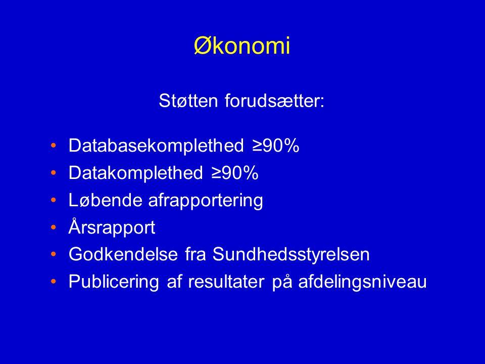 Økonomi Støtten forudsætter: Databasekomplethed ≥90%