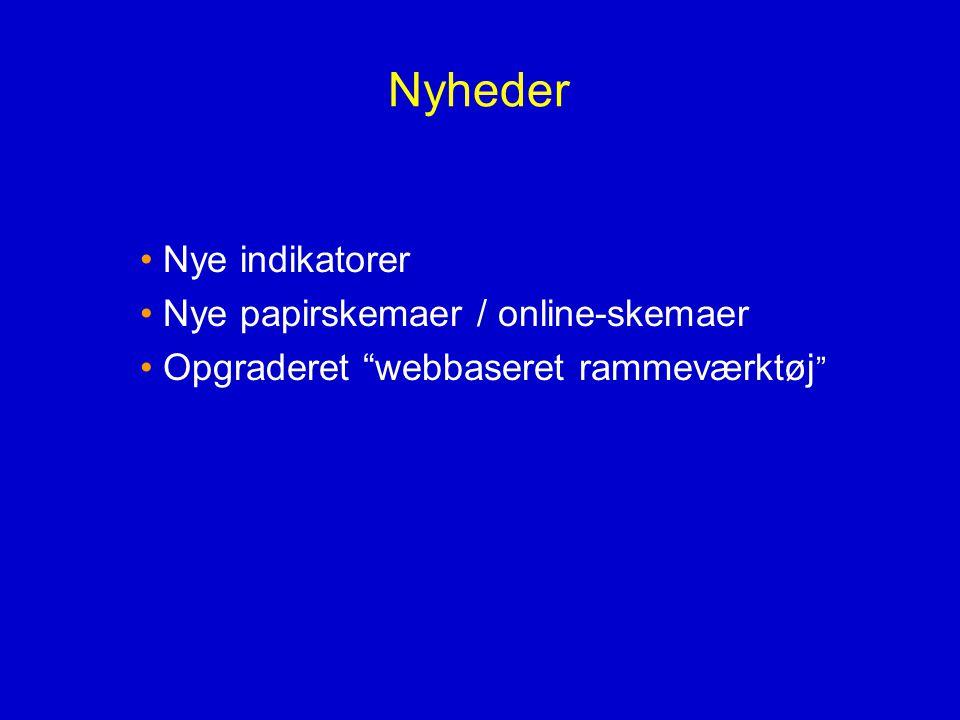 Nyheder Nye indikatorer Nye papirskemaer / online-skemaer