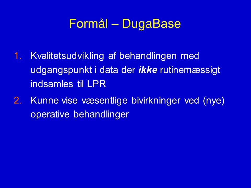 Formål – DugaBase Kvalitetsudvikling af behandlingen med udgangspunkt i data der ikke rutinemæssigt indsamles til LPR.