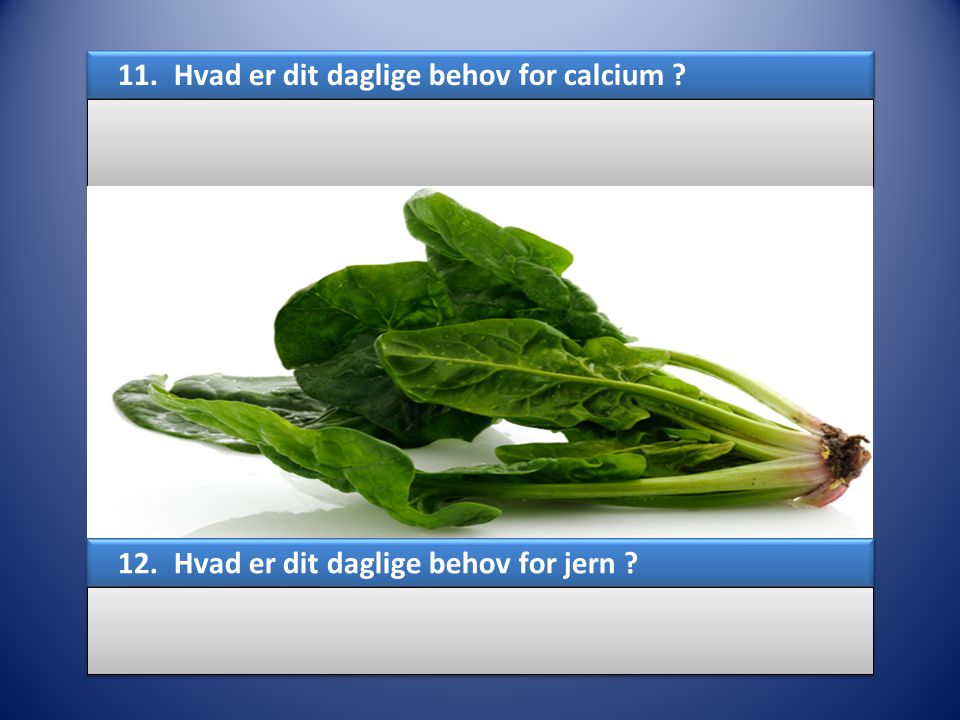 11. Hvad er dit daglige behov for calcium