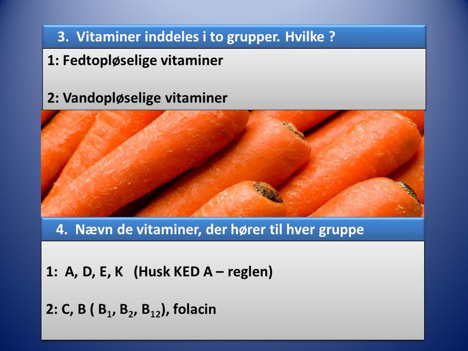 3. Vitaminer inddeles i to grupper. Hvilke