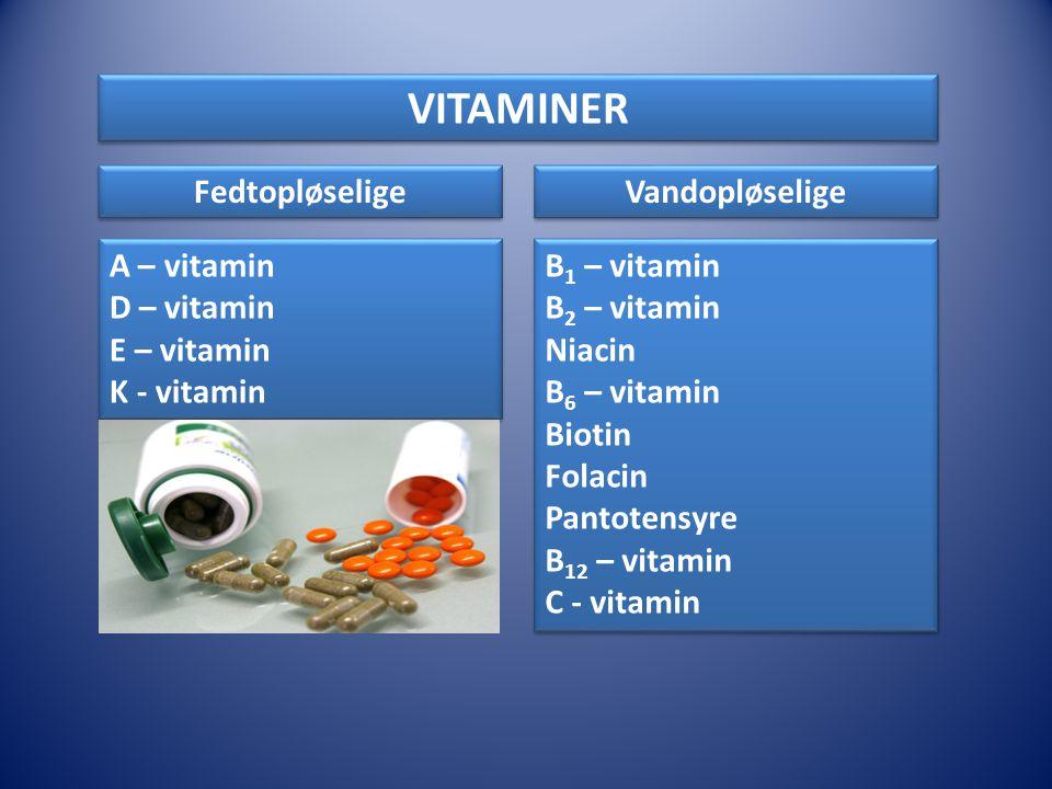 VITAMINER Fedtopløselige Vandopløselige A – vitamin D – vitamin