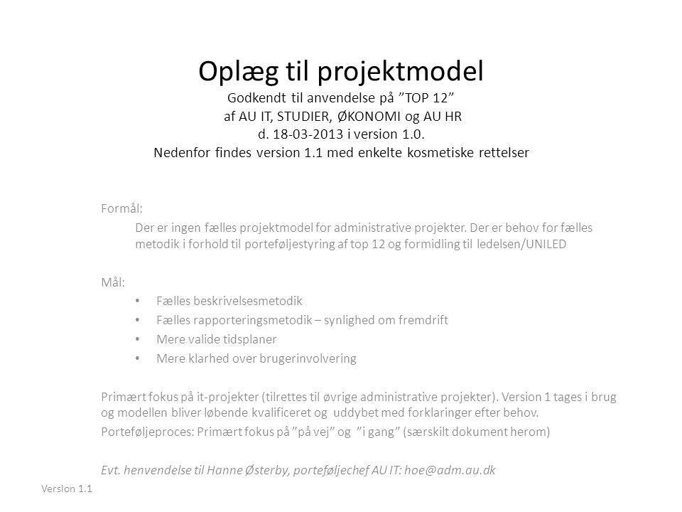 Oplæg til projektmodel Godkendt til anvendelse på TOP 12 af AU IT, STUDIER, ØKONOMI og AU HR d. 18-03-2013 i version 1.0. Nedenfor findes version 1.1 med enkelte kosmetiske rettelser