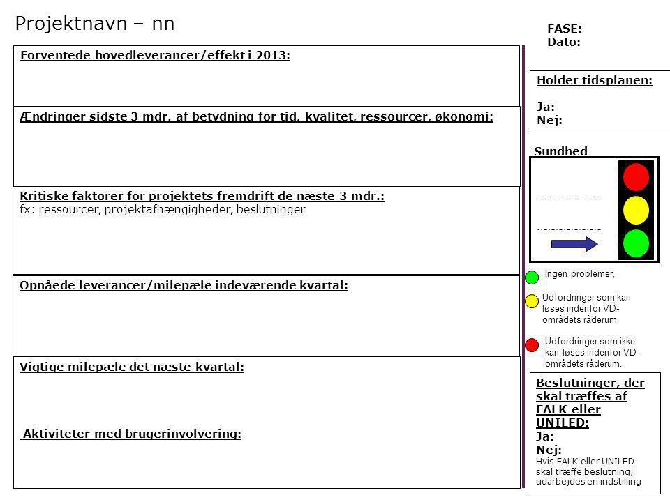 Projektnavn – nn FASE: Dato: Forventede hovedleverancer/effekt i 2013:
