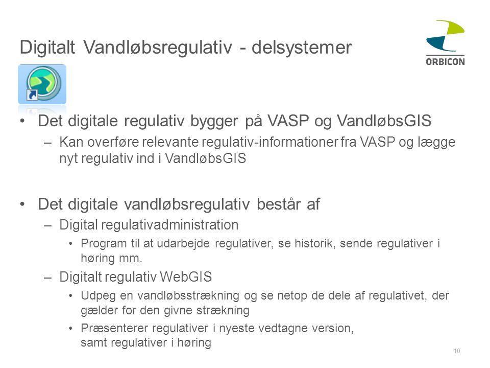Digitalt Vandløbsregulativ - delsystemer