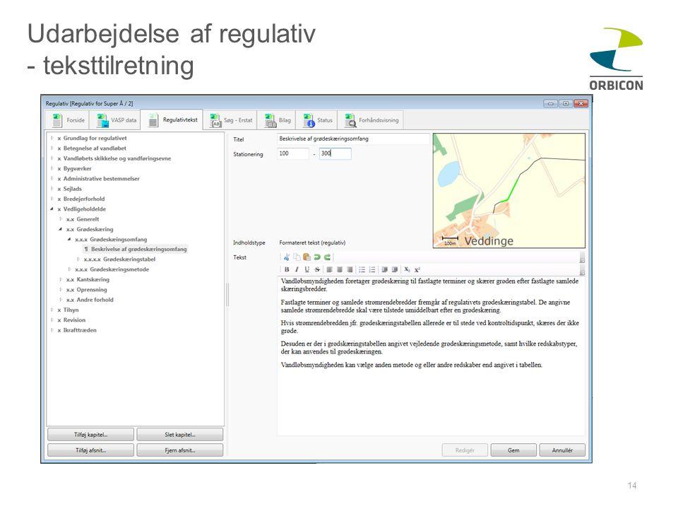 Udarbejdelse af regulativ - teksttilretning
