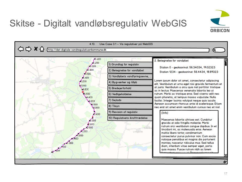 Skitse - Digitalt vandløbsregulativ WebGIS