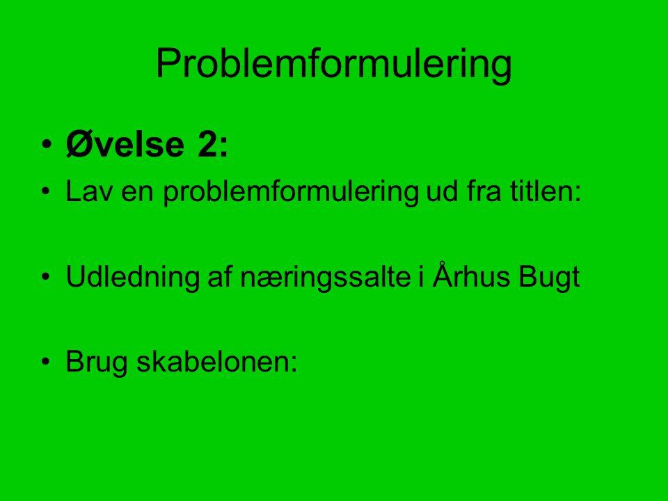 Problemformulering Øvelse 2: Lav en problemformulering ud fra titlen: