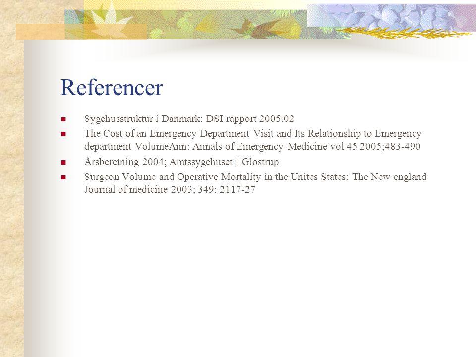 Referencer Sygehusstruktur i Danmark: DSI rapport 2005.02