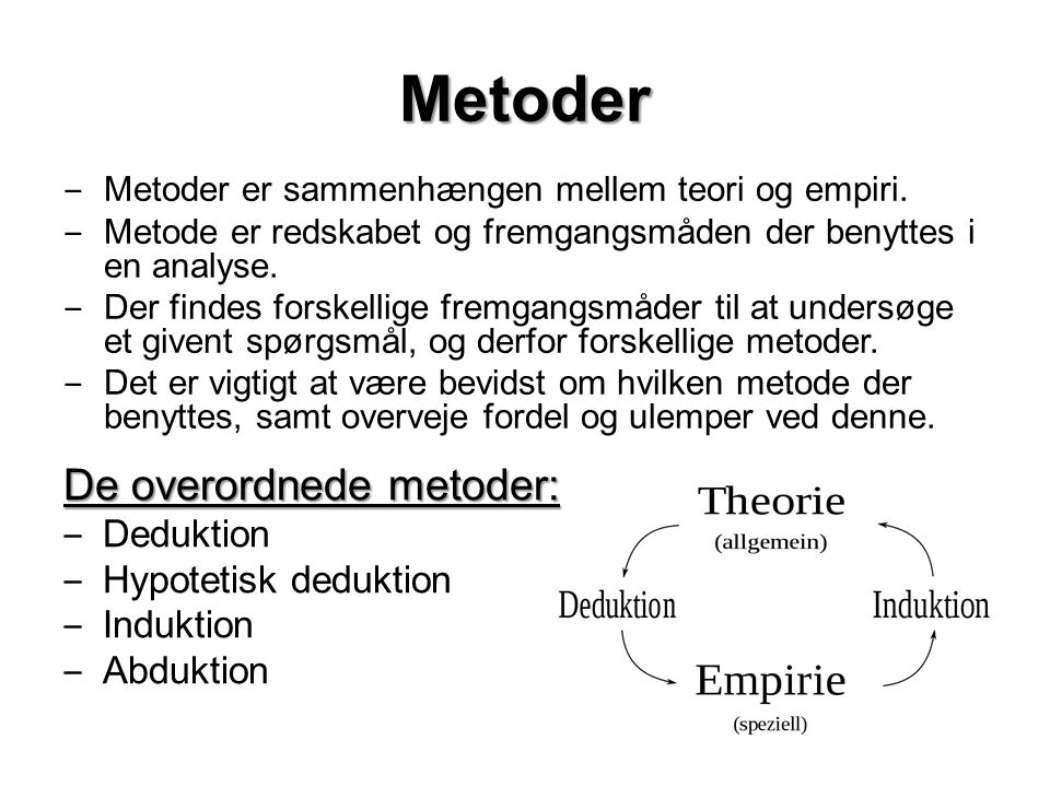 Metoder De overordnede metoder: Deduktion Hypotetisk deduktion
