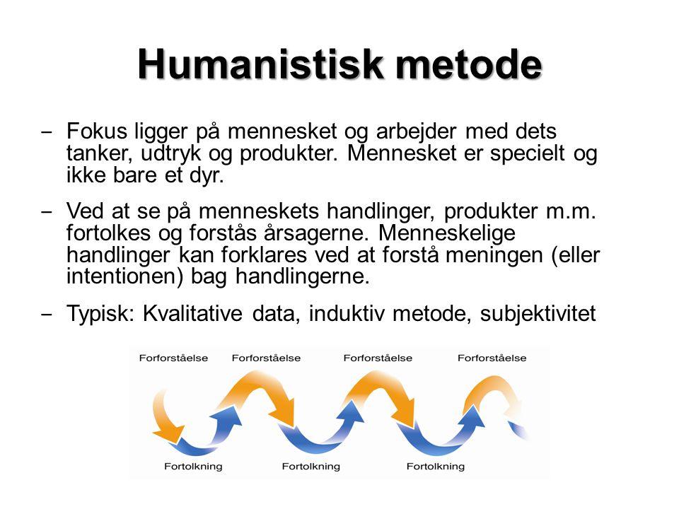 Humanistisk metode Fokus ligger på mennesket og arbejder med dets tanker, udtryk og produkter. Mennesket er specielt og ikke bare et dyr.