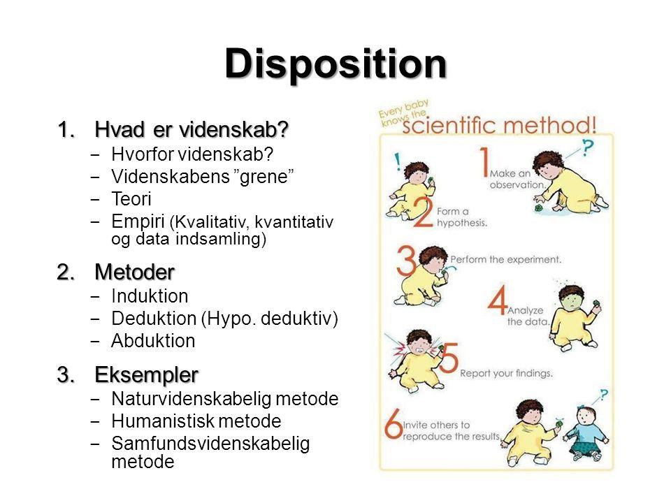 Disposition Hvad er videnskab Metoder Eksempler Hvorfor videnskab