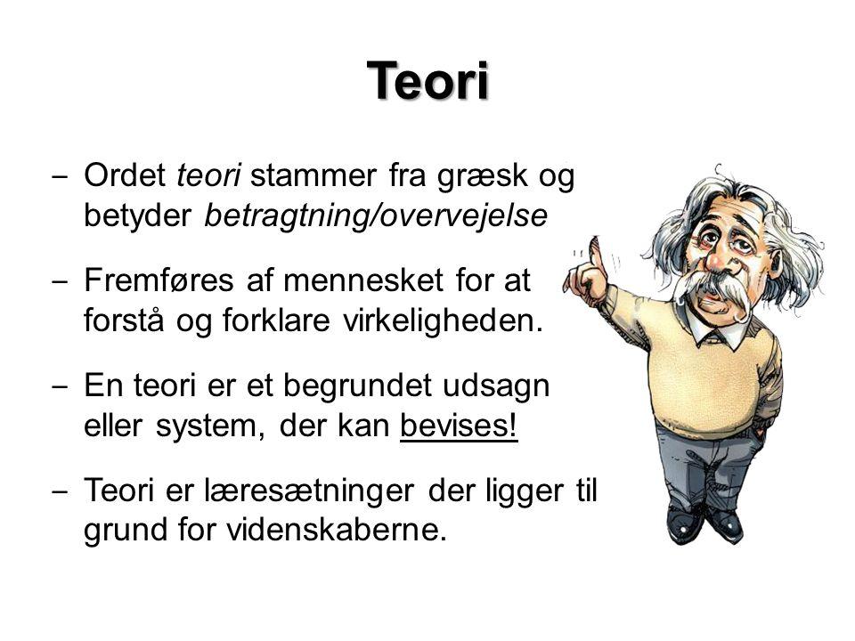 Teori Ordet teori stammer fra græsk og betyder betragtning/overvejelse