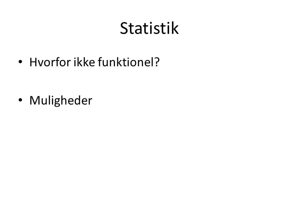 Statistik Hvorfor ikke funktionel Muligheder