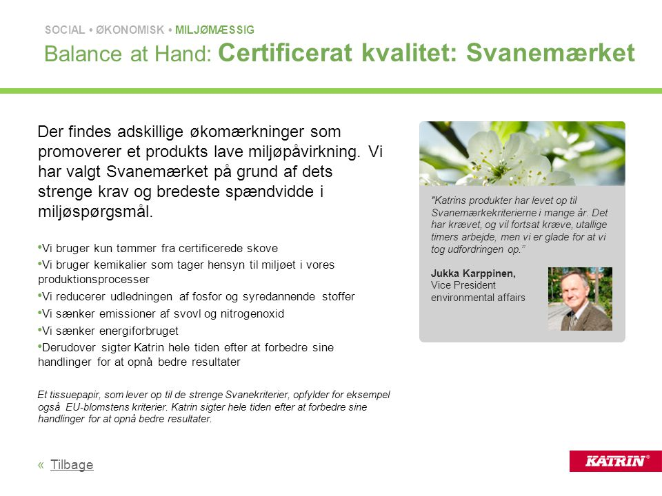 Balance at Hand: Certificerat kvalitet: Svanemærket