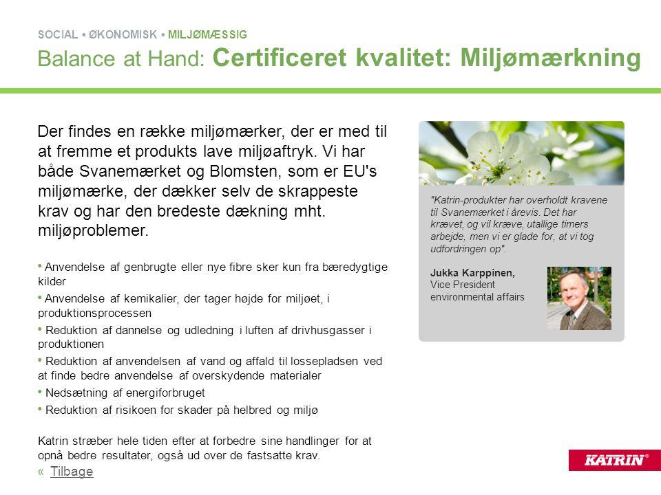 Balance at Hand: Certificeret kvalitet: Miljømærkning