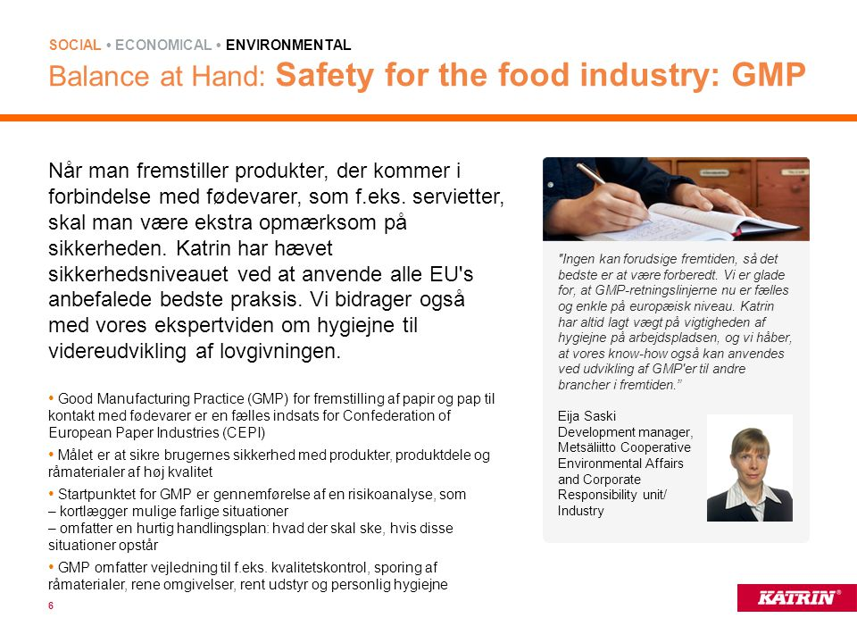 Balance at Hand: Safety for the food industry: GMP