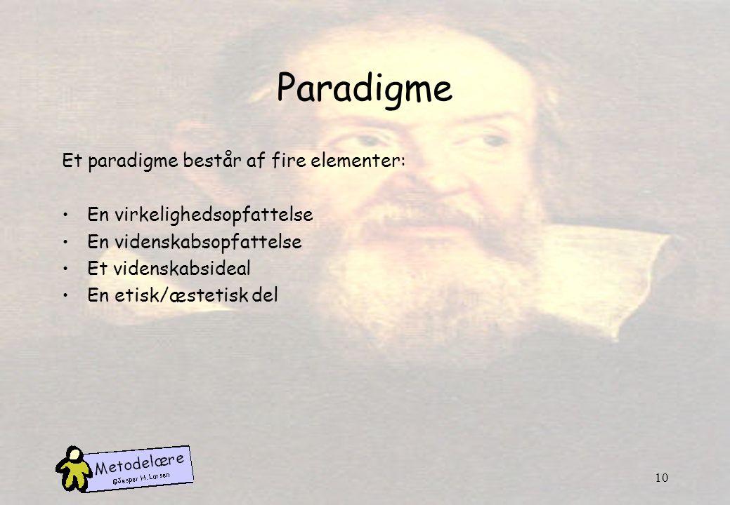 Paradigme Et paradigme består af fire elementer: