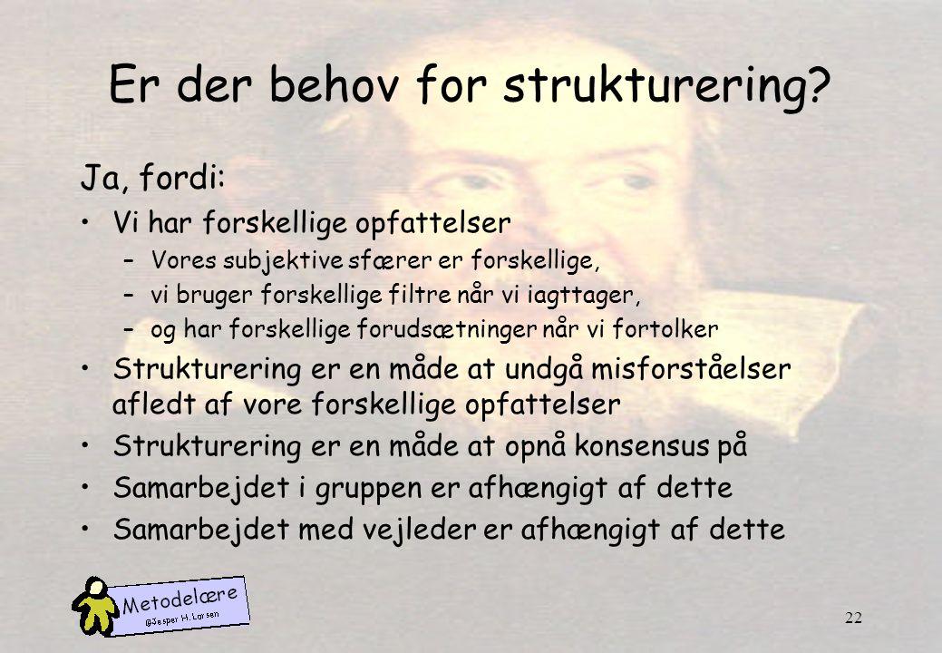 Er der behov for strukturering
