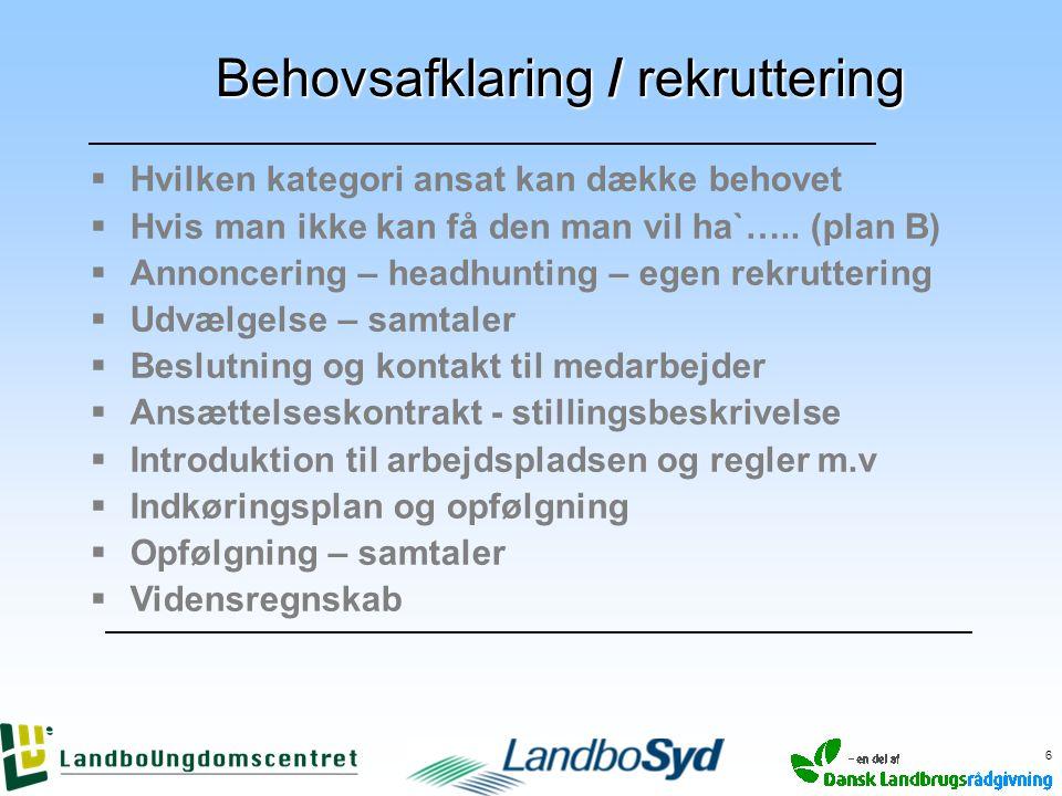 Behovsafklaring / rekruttering