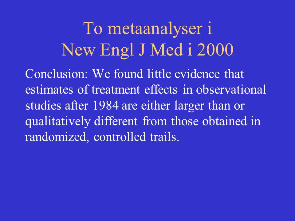 To metaanalyser i New Engl J Med i 2000