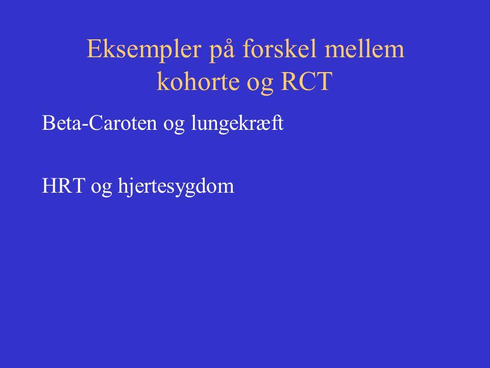 Eksempler på forskel mellem kohorte og RCT