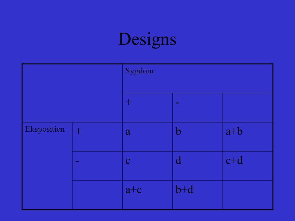 Designs Sygdom + - Eksposition a b a+b c d c+d a+c b+d