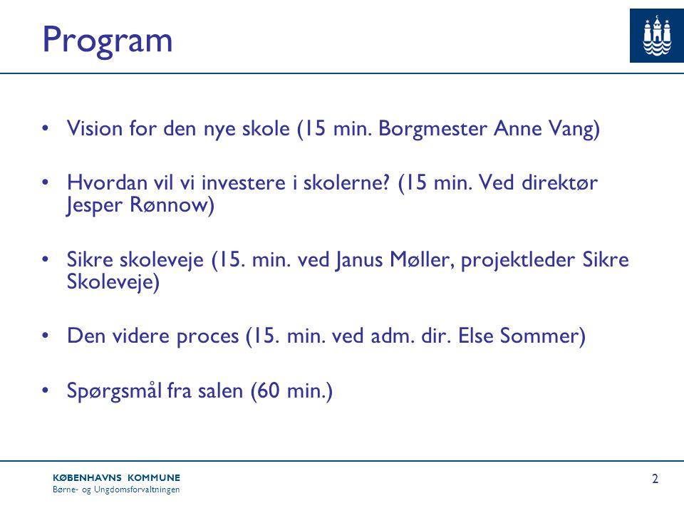 Program Vision for den nye skole (15 min. Borgmester Anne Vang)