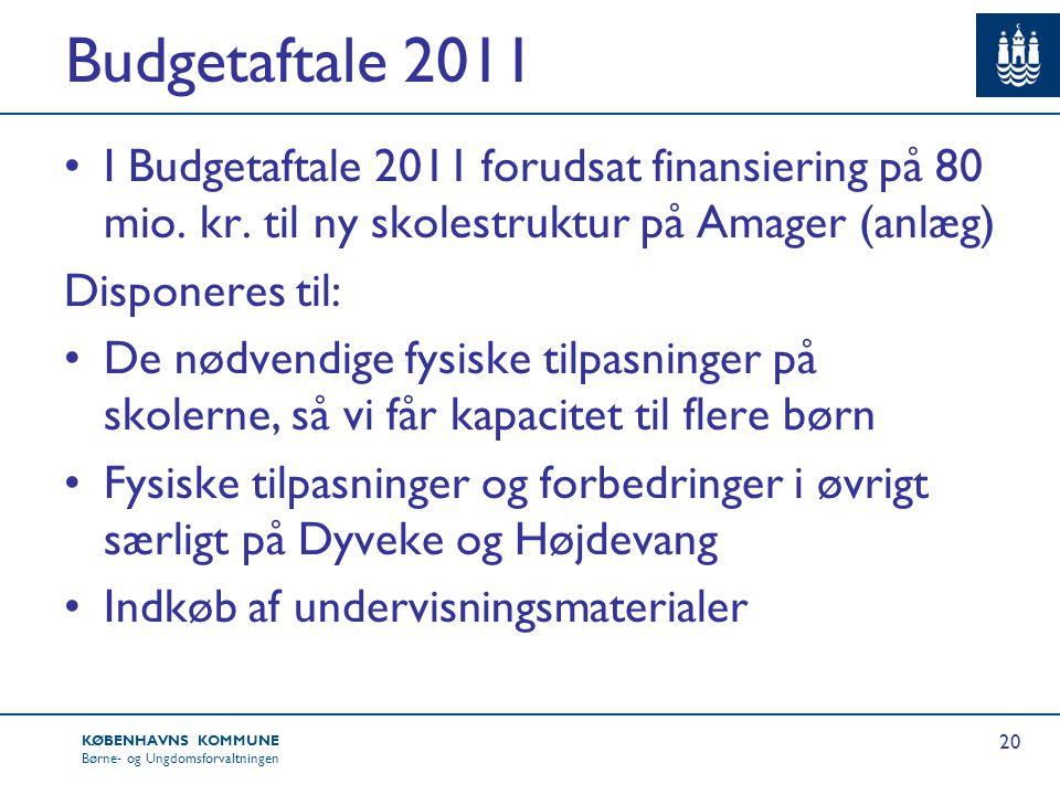 Budgetaftale 2011 I Budgetaftale 2011 forudsat finansiering på 80 mio. kr. til ny skolestruktur på Amager (anlæg)