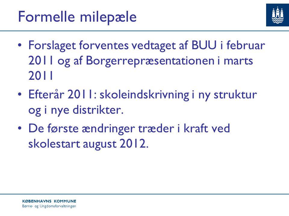 Formelle milepæle Forslaget forventes vedtaget af BUU i februar 2011 og af Borgerrepræsentationen i marts 2011.