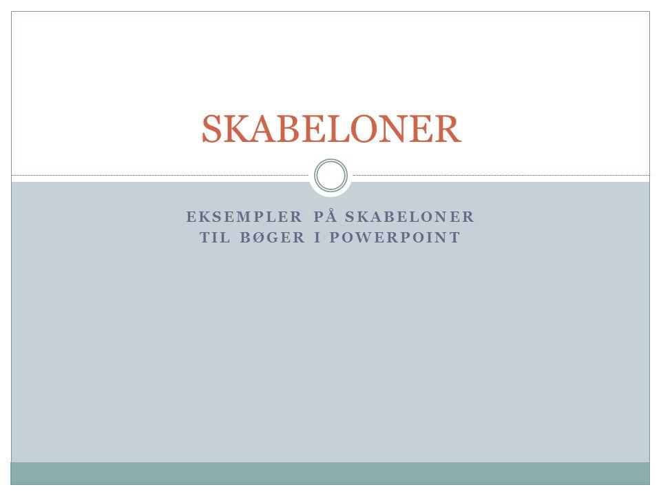 Eksempler på skabeloner til bøger i powerpoint