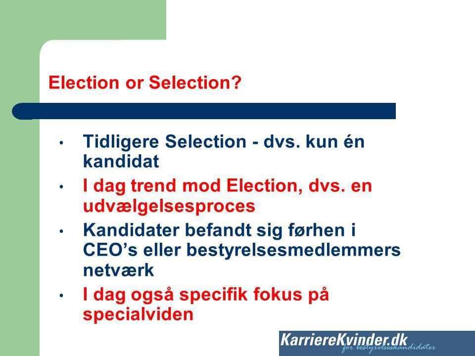 Election or Selection Tidligere Selection - dvs. kun én kandidat. I dag trend mod Election, dvs. en udvælgelsesproces.