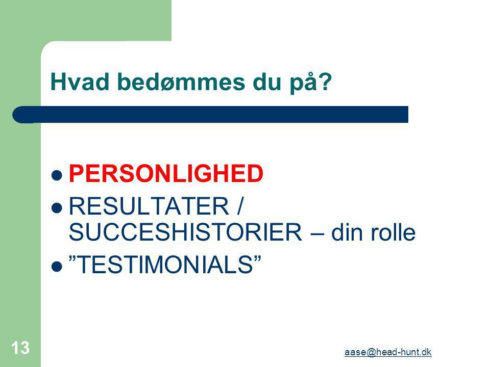 RESULTATER / SUCCESHISTORIER – din rolle TESTIMONIALS