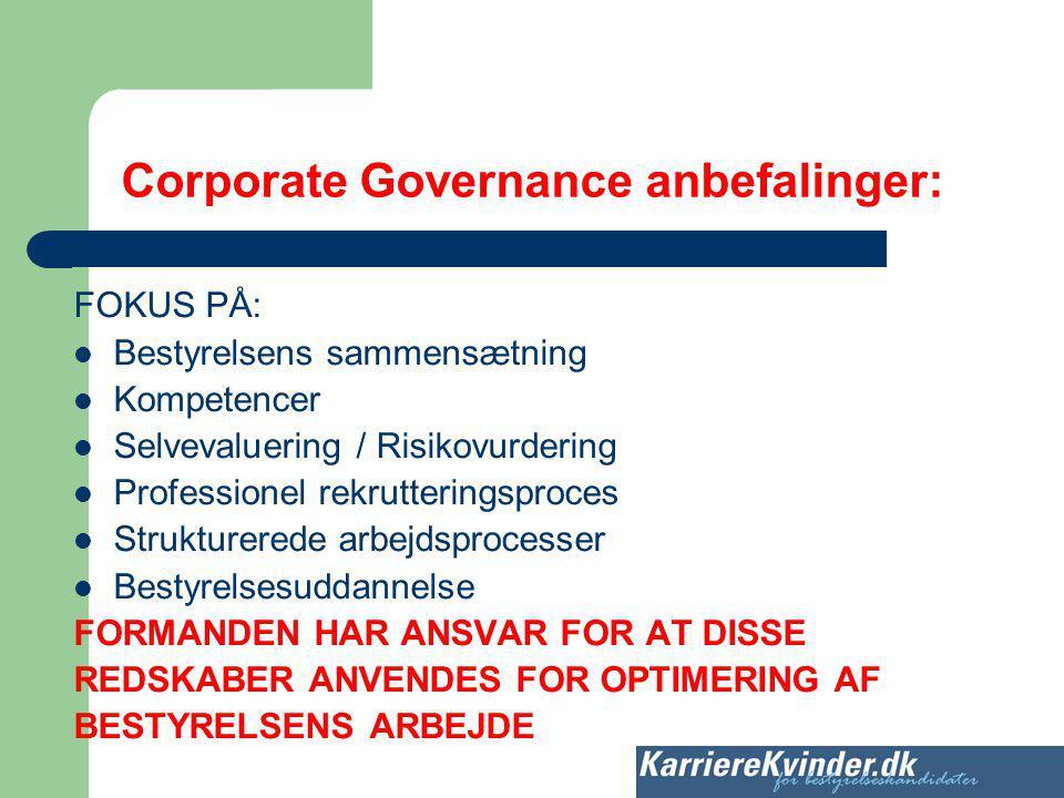 Corporate Governance anbefalinger: