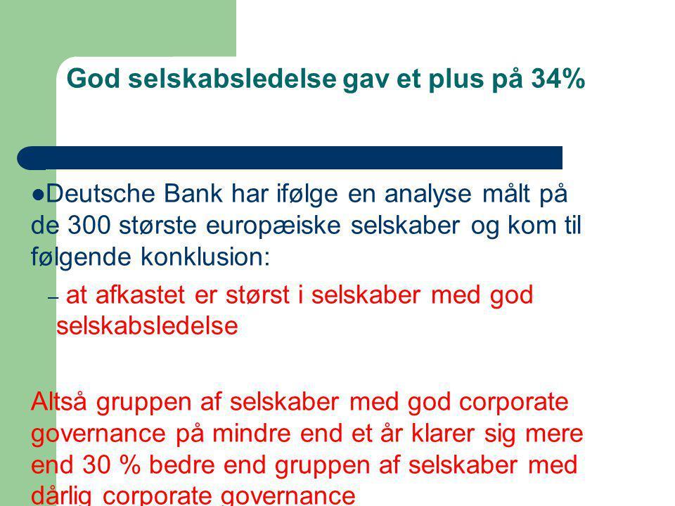 God selskabsledelse gav et plus på 34%