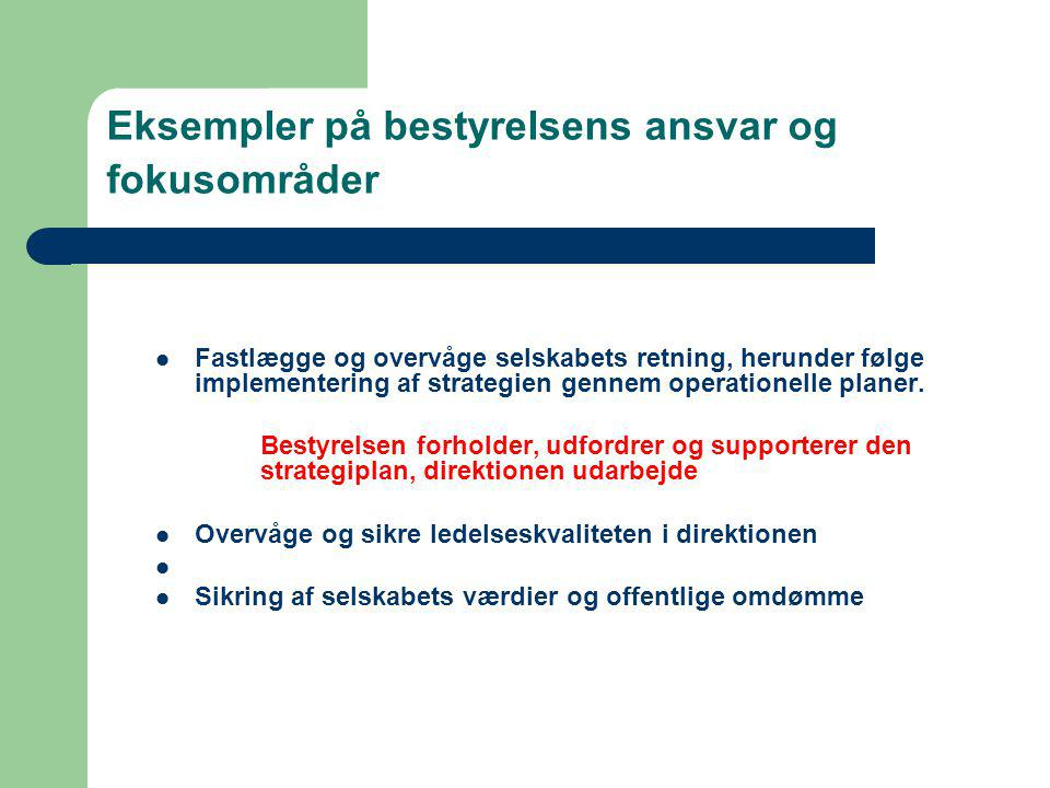 Eksempler på bestyrelsens ansvar og fokusområder
