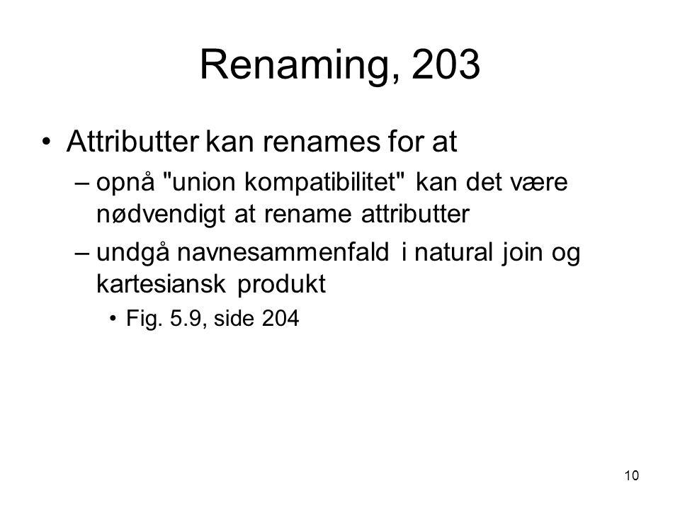 Renaming, 203 Attributter kan renames for at