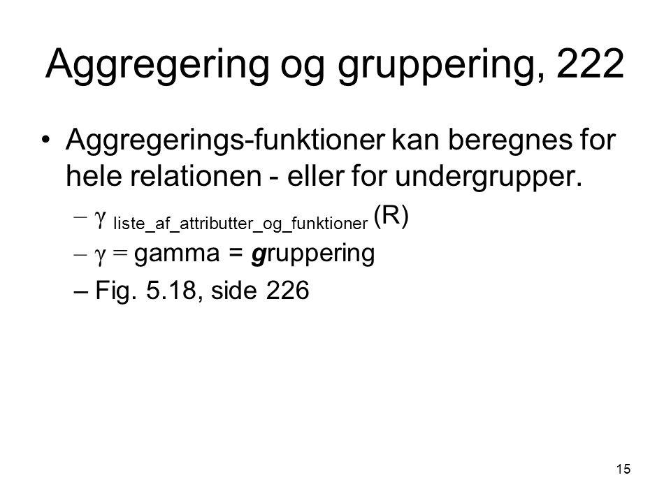 Aggregering og gruppering, 222