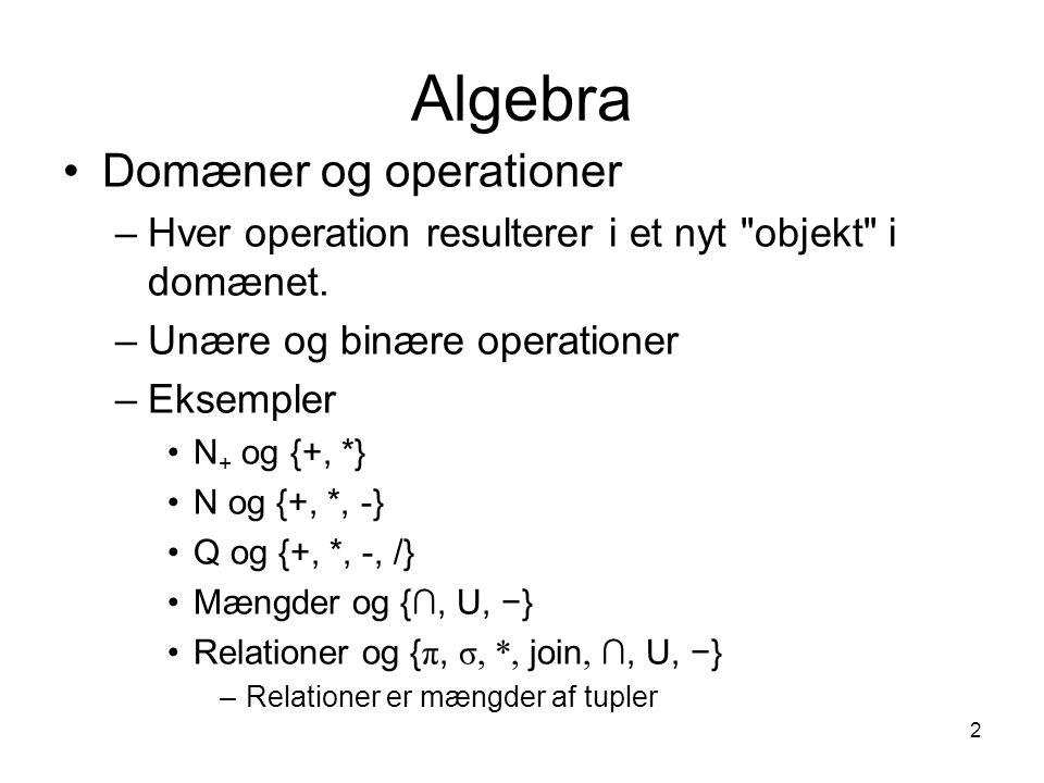 Algebra Domæner og operationer