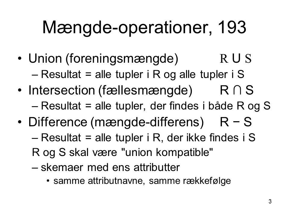 Mængde-operationer, 193 Union (foreningsmængde) R U S