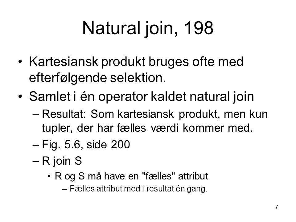 Natural join, 198 Kartesiansk produkt bruges ofte med efterfølgende selektion. Samlet i én operator kaldet natural join.