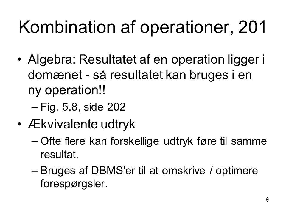 Kombination af operationer, 201