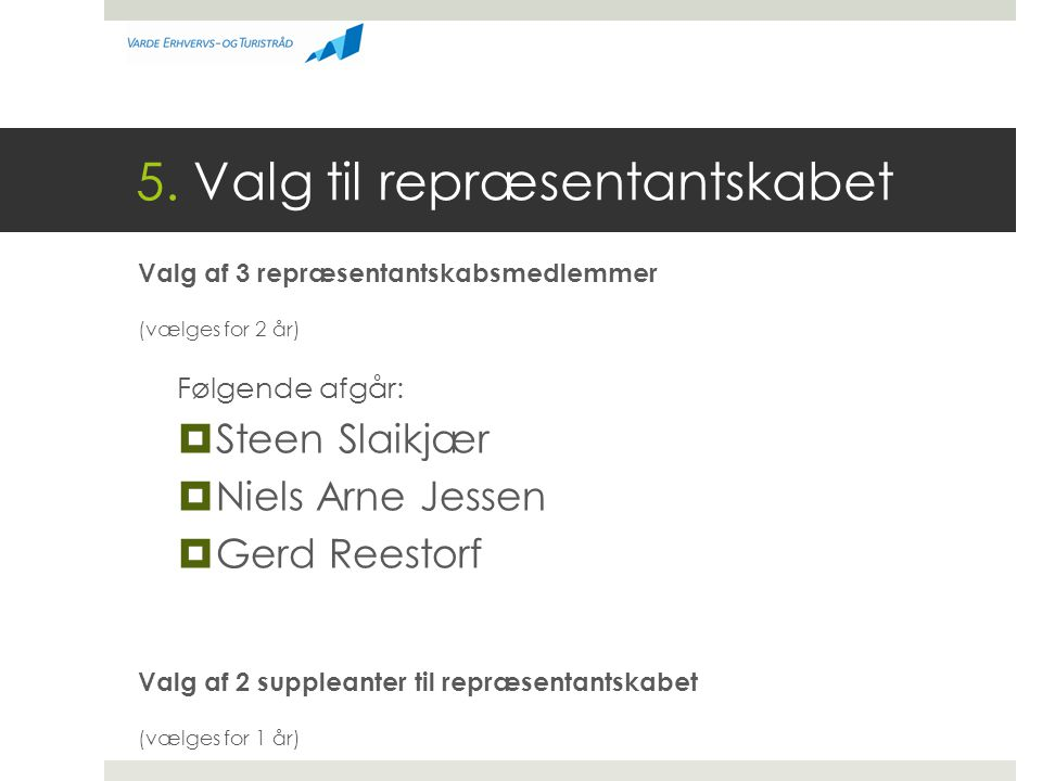 5. Valg til repræsentantskabet