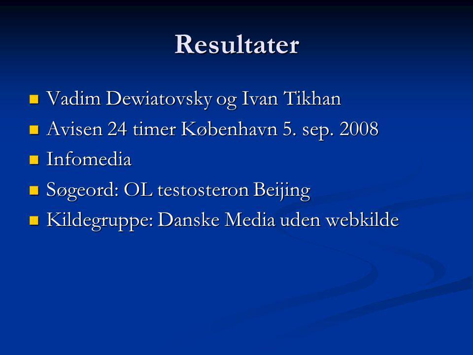 Resultater Vadim Dewiatovsky og Ivan Tikhan