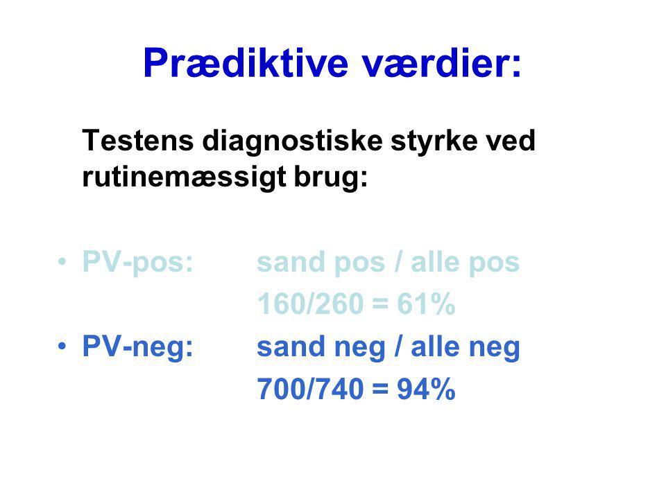 Prædiktive værdier: Testens diagnostiske styrke ved rutinemæssigt brug: PV-pos: sand pos / alle pos.