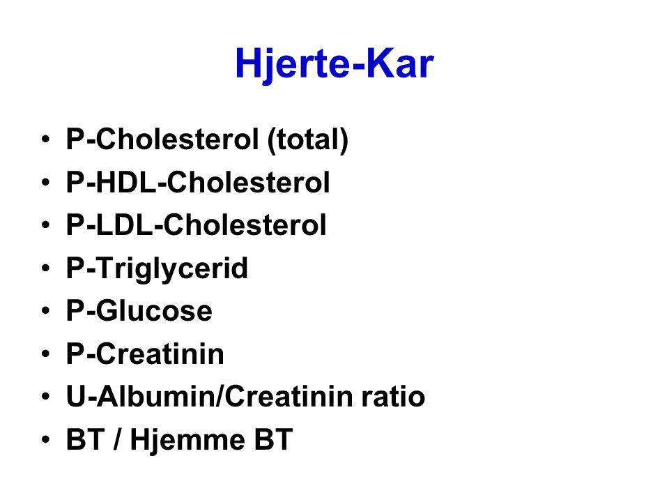 Hjerte-Kar P-Cholesterol (total) P-HDL-Cholesterol P-LDL-Cholesterol