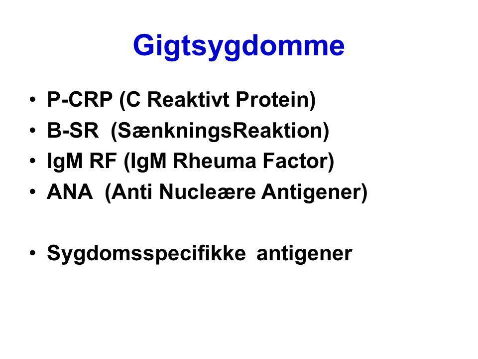 Gigtsygdomme P-CRP (C Reaktivt Protein) B-SR (SænkningsReaktion)