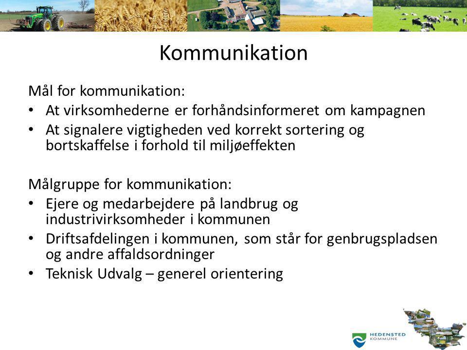 Kommunikation Mål for kommunikation: