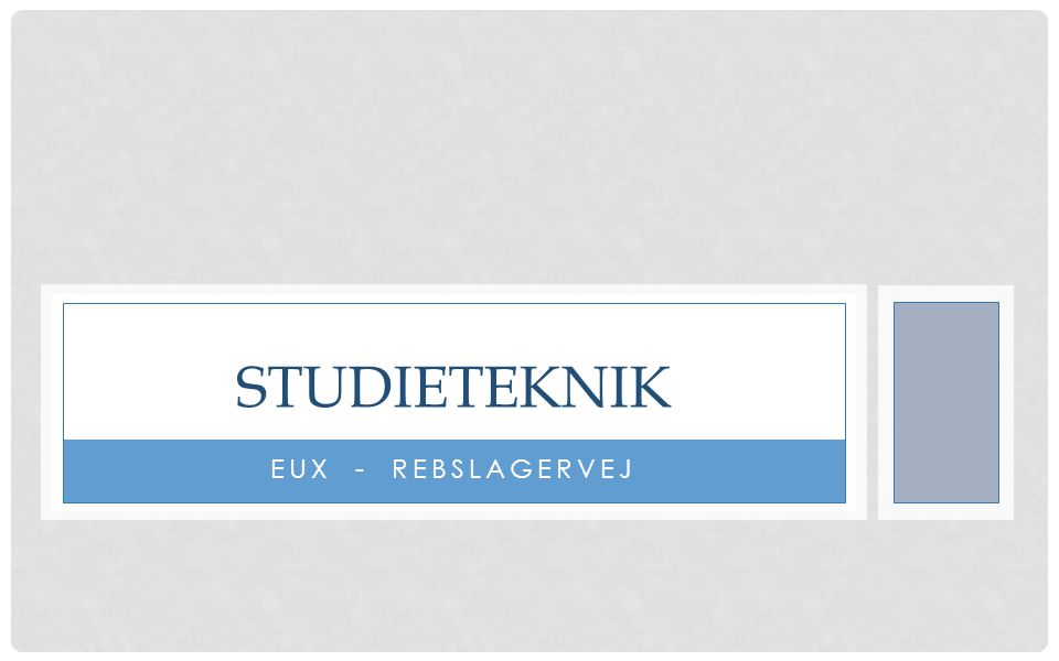STUDIETEKNIK EUX - REBSLAGERVEJ